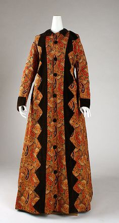 Dressing gown Date: 1870s Culture: American Medium: linen, cotton Dimensions: Total Length: 58 in. (147.3 cm) Credit Line: Gift of Mr. Alexa...