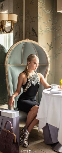 "~CBS Watch Magazine Editorial. Actress AnnaSophia Robb photographed inside the restaurant at Bergdorf Goodman, NYC for Sex And The City prequel, ""The Carrie Diaries."" 