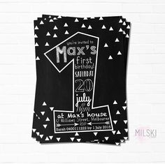 A personal favourite from my Etsy shop  Monochrome triangle first birthday invite. Order via my Etsy shop!