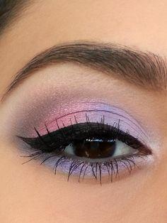 lavender purple pastel pink eyes with winged eyeliner