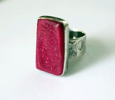 Lovely!  And made by a fellow Torringtonian!  Fuschia Drusy Ring in Sterling Silver handcrafted by SilverSpiral1, $68.00