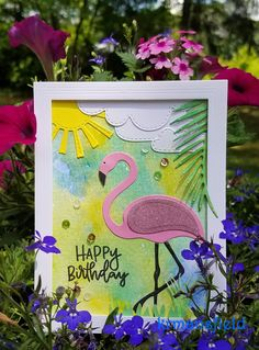 Flamingo BirthdayCard - Spellbinders flamingo and palm frond dies, Lawn Fawn cloud and sun dies, Taylored Expressions frame die, Concord and 9th stamp,  Distress ink watercolor background.