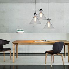 Cone Glass Lamp Shade Pendant Light in study room