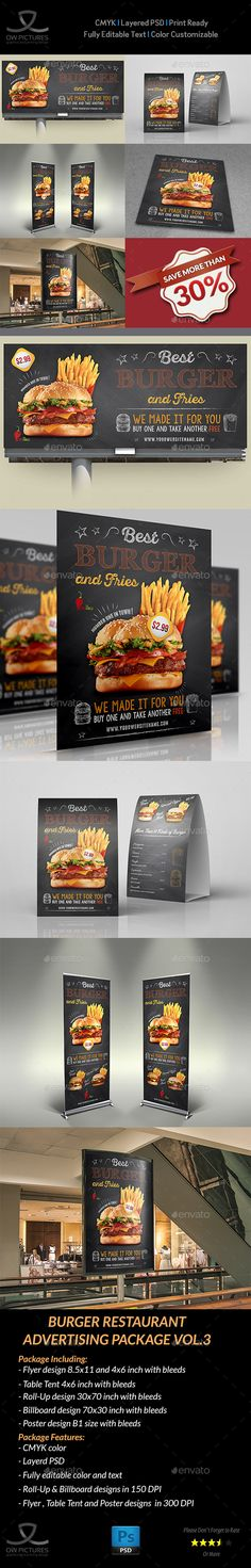 Burger Restaurant Advertising PSD Template • Only available here ➝ http://graphicriver.net/item/burger-restaurant-advertising-bundle-vol3/16539103?ref=pxcr