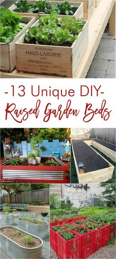 13 Unique DIY Raised Garden Beds : Unique DIY raised garden bed tutorials Creating DIY raised garden beds, or garden boxes, in your backyard is a great way Garden Bed Layout, Raised Bed Garden Design, Building A Raised Garden, Diy Garden Bed, Unique Gardens, Garden Boxes, Growing Vegetables, Gardening Vegetables, Garden Planning