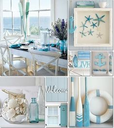 Coastal Living Deco Ideas - Once made the decision .Coastal Living Deco Ideas - Once you have made the decisions about the larger elements, such as wall paint o . Coastal Bedrooms, Coastal Living Rooms, Coastal Homes, Coastal Curtains, Coastal Farmhouse, Coastal Cottage, Beach Themed Living Room, Beach Theme Wall Decor, Blue Bedrooms