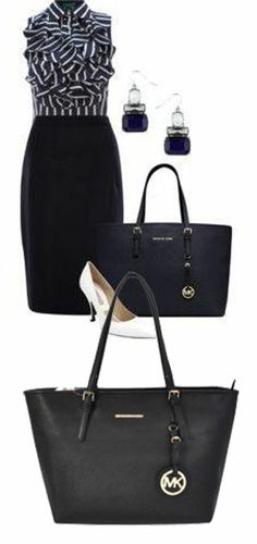 Michael Kors Medium Jet Set Multifunction Saffiano Tote Bag Black