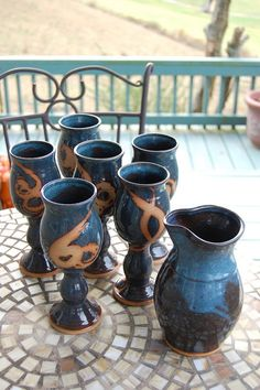 Set of Six Wine Goblets and Carafe in Slate Blue by pagepottery, $200.00 Wax resist ideas