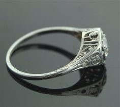 Antique Diamond Ring  18k White Gold and Diamond by SITFineJewelry, $2750.00