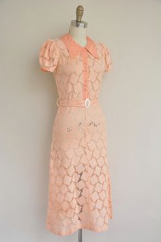 1930s dress / peach cotton dress / 1930s 30s by simplicityisbliss