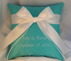 Tiffany blue satin ring bearer pillow tied with a white satin bow. Personalized with your names and wedding date. Tiffany Blue Party, Tiffany Blue Weddings, Tiffany Wedding, Blue Satin, White Satin, Tiffany Blue Centerpieces, Blue Country Weddings, Our Wedding, Wedding Ideas