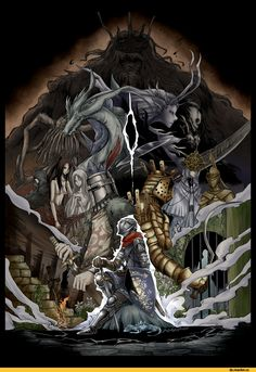 Dark Souls,фэндомы,DS art,DS персонажи,Gravelord Nito,Solaire of Astora,Lautrec of Carim,Knight Lautrec of Carim,Chaos Witch Quelaag,Quelaan,Quelana,Gwyndolin,Seath the Scaleless,Lord of Cinder Gwyn,Four Kings