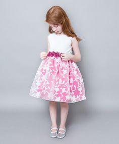 Vestido Infantil Branco e Pink