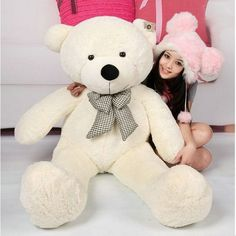 Qiyun 47` White color 1.2M Giant Huge Cuddly Stuffed Animals Plush Teddy Bear