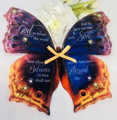 Excited to share this item from my shop: Christian Gift - Handmade Bible Verse Butterfly John 3 v 16 Gift, God So Loved The World, Birthday Gift, Baptism Gift, Encouragement Gift Encouragement Gift, Baptism Gifts, Glue Dots, John 3, Christian Gifts, Large Flowers, Christening, Bible Verses, Butterflies