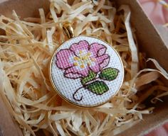 "The #pendant ""Pink flower"" is handmade item with #miniature #crossstitch (size…"