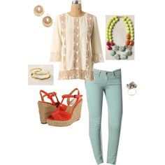 Camellia Blouse/Paige Mint Skinnies/Drawing Room Necklace, created by jennifoundinmycloset