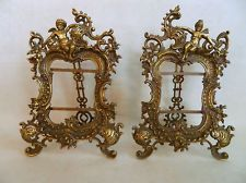 PAIR~Gorgeous Solid Brass Victorian Picture Frames w/ Girl and Boy Cherubs