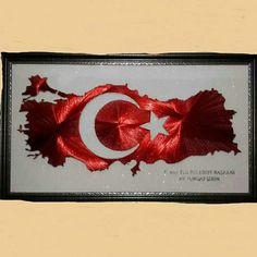 Filografi türkiye haritasi bayrak içiçe