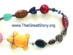 Great Story Beads Children's Curricula. Select a story of time itself and string beads that mark highlights in the actual story of the Universe is to help participants experience wonder and a sense of real belonging in the vast cosmos and the adventure of life. Sample timeline includes: Big Bang, Glaxies form, our Sun forms, Earth forms, Rain falls, Oceans form, Life begins on Earth, Invertabrate animals begin, First land plants, Insects, Dinosaurs, Mammals, Humans, ME!
