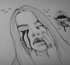 Sad drawings, drawings with meaning, pencil drawings, pencil portrait, aest Drawings With Meaning, Sad Drawings, Pencil Art Drawings, Drawing Sketches, Tumblr Sketches, Tumblr Drawings, Amazing Drawings, Sketching, Aesthetic Drawing