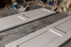 Let's kick this week off with a new tutorial, shall we? I built these doors back in the beginning of March—you may remember seeing a timelapse video of the process in Episode 7 of my vlog ser… Diy Barn Door Plans, Diy Sliding Barn Door, Double Barn Doors, Building A Barn Door, Barn Door Track, House Doors, Room Doors, Closet Doors, Laundry Doors