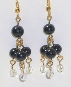 Earrings Chandelier Black Pearls Crystal Beads by oohlalajewelry1, $10.00