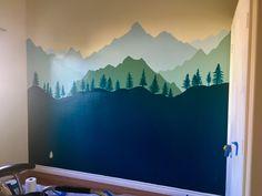 Painted woodland mural Nursery Wall Murals, Nursery Paintings, Bedroom Murals, Nursery Room, Boy Room, Room Themes, Nursery Themes, Baby Bedroom, Kids Bedroom