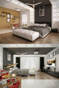 Interior:Music Themed Bedroom Contemporary Interior Design Concept For Small House Modern Master Bedroom Lighting Decor Nightstand Furniture Ideas Loft Headboard Cushion Space Saving Bedrooms Eclectic Interior Design Concept Inspiration Ideas