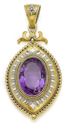 An enamel and amethyst pendant, circa 1870 The oval-cut amethyst accented by a ropetwisted border, within a lozenge-shaped surround decorated with white and sky blue enamel and beaded details, to a scrolled surmount and suspensory loop, length 6.5cm, fitted case by Sanderson  Son Jewellers, Edinburgh