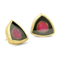 Stud Earrings handmade by jewelry artist Petra Class featuring a pair of watermelon tourmaline totaling carats, bezel set in yellow gold with gold posts and backs. Stamped and Hallmarked. Red Earrings, Antique Earrings, Silver Hoop Earrings, Crystal Earrings, Bridesmaid Earrings, Bridal Earrings, Tourmaline Earrings, Watermelon Tourmaline, Petra