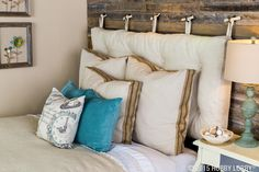 15 DIY Headboard Ideas to Be Your Weekend Project – ARCHLUX.NET These pre-made pillow covers will accentuate your shabby-chic style without breaking the bank. For larger pillows, create your own slipcover with linen fabric and jute trim. Shabby Chic Bedrooms, Shabby Chic Homes, Shabby Chic Style, Shabby Chic Furniture, Shabby Chic Decor, Shabby Chic Farmhouse, Shabby Chic Kitchen, Pillow Headboard, Headboard Ideas