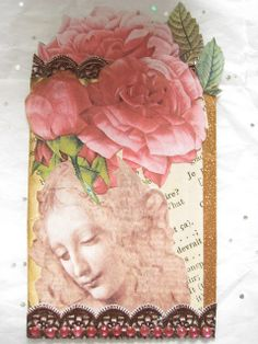 Vintage ATC with a Book Page and Rose