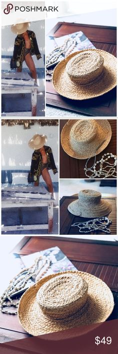 Raffia Style Summer Beach Boho Cruise Hat This raffia Style hat is the bomb!! Hate to let it go, I just have too many hats 😁 this hat can be worn two different ways as shown in the photos. Stock photos are for styling purposes only!! There is a few stray raffia on the edge as shown does not affect wearing! Packable too! My opinion is S/M size approximately Beach festival weekend vacation summer cruise beach chic on trend raffia hat boho Accessories Hats