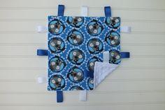 Flannel and Minky Taggie Blanket Blue Grey White by BlackKatStudio
