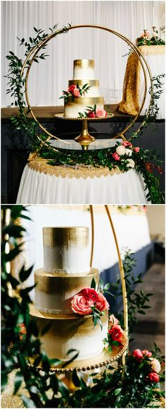 Wedding reception cake station, romantic gold painted cake, pink flowers, unique cake displays, learn more on borrowedandblue.com // Diana Gula Photography