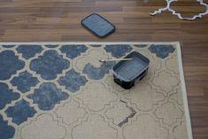 DIY- RUG: Buy a plain cheap rug, then stencil & paint!