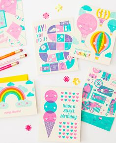 Bright coloured letterpress Birthday cards by Hello! Lucky.