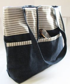 Large Denim shopper tote bag