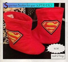 Superman Booties for Children Fast Shipping by SewlFulThings, $20.00