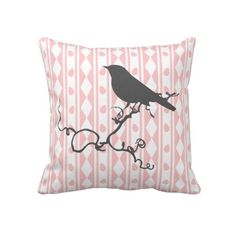 Wow how cute is this, vintage inspired bird on a branch silhouette on a pretty pink and white patterned background, quality throw pillow