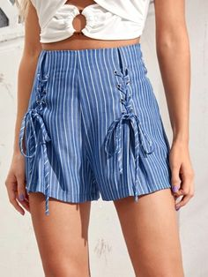 ((Affiliate Link)) Description Style:	Boho Color:	Blue Pattern Type:	Striped Details:	Lace Up, Zipper, Garment Eyelets Type:	Wide Leg Season:	Summer Composition:	65% Cotton, 35% Polyester Material:	Cotton Fabric:	Non-stretch Sheer:	No Fit Type:	Loose Waist Type:	High Waist Closure Type:	Zipper Fly