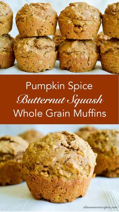 Whole Grain Pumpkin Spice Butternut Squash Muffins - My thoughts: I actually this recipe, skipped the egg and made in a mini loaf pan, baked for min and because I was in a hurry had to take out of oven even though not completely done. Zucchini Muffins, Butternut Squash Muffins, Muffins Blueberry, Pumpkin Squash, Healthy Muffins, Baby Food Recipes, Baking Recipes, Dessert Recipes, Healthy Sweets