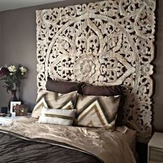 White Bohomiean chic style home headboard Home Bedroom, Bedroom Decor, Bedroom Furniture, Modern Furniture, Bedroom Ideas, Bedroom Bar, Bedding Decor, Wall Decor, Mural Wall
