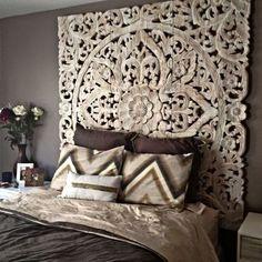 White Bohomiean chic style home headboard