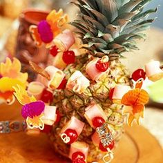 Pineapple ham and cherry appetizers... so pretty!