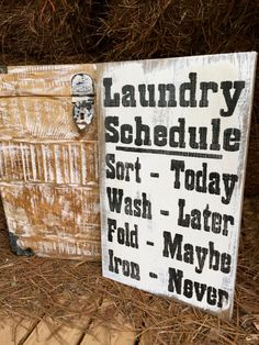 Large Rustic Wood Sign  Laundry Schedule... by OconeeSignShack