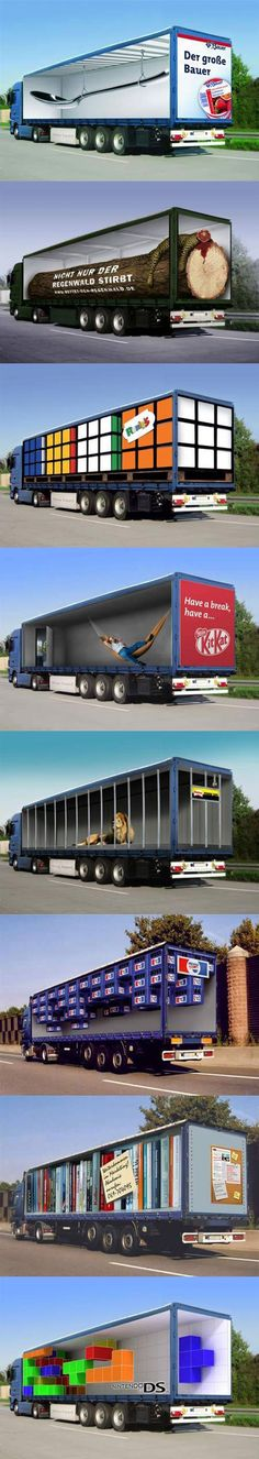 some clever optical illusion truck ads that designed to play mind tricks.are some clever optical illusion truck ads that designed to play mind tricks. Bus Advertising, Clever Advertising, Advertising Design, Advertisement Examples, Guerilla Marketing, Street Marketing, 3d Street Art, Mind Tricks, Illusion Art