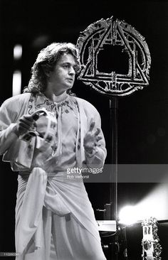 Jon Anderson of Yes performs on stage at Ahoy, Rotterdam, Netherlands on 23rd June 1991.