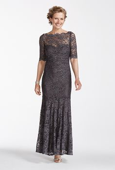 Brides.com: . Style 21301D, glitter lace scalloped illusion neck mermaid gown, $165.95, David's Bridal